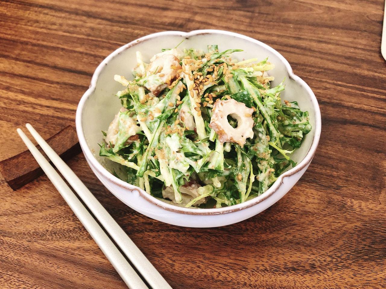 水菜と豆腐のごまサラダ